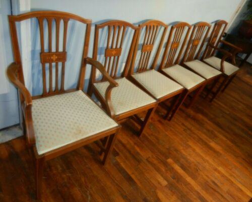 Set 6 Hepplewhite Dining Chairs with Striped & Fleur De Lis Inlay made England