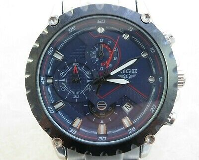 Men's LIGE Sport Wrist Chronograph Watch, Analog Quartz, Military Date Watch