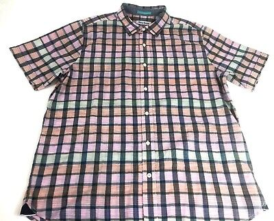 Tommy Bahama Mens Pico Plaid Sport Shirt Electric Coral Top - XLT NEW $170