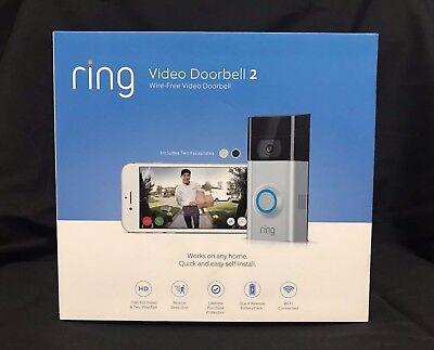 *NEW SEALED* Ring Doorbell 2 1080 HD - Wi-Fi Smart Video Doorbell - Satin Nickel