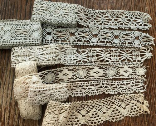 Vintage Pale Green Ivory Lace Lot Collection