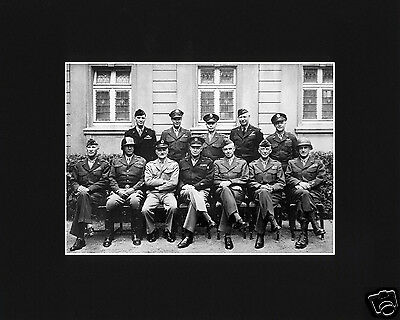 General Eisenhower Patton Allied World War 2  Black Large Matted Photo Picture