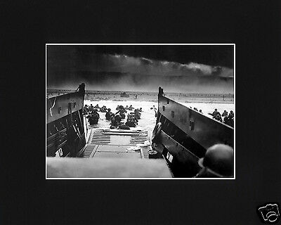 D Day Allied World War 2  Usa Invasion Normandy Black Large Matted Photo   Wf1