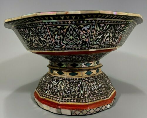 Burma Burmese Black Lacquer w/ Mother of Pearl Inlay Ceremonial Bowl ca. 1900