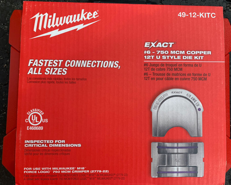 Milwaukee 49-12-KITC EXACT #6 – 750 MCM Copper 12T U Style Die Kit - BRAND NEW!