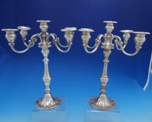 Chantilly By Gorham Weighted Sterling Silver 5 Light Candelabra Pair (#4164)