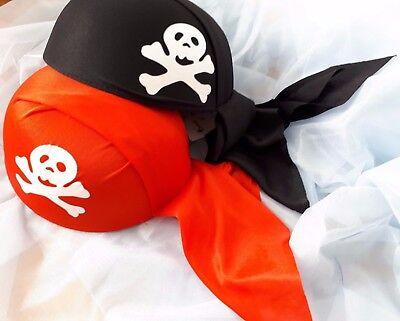 Piratenhaube rot / schwarz Piratenkappe mit Totenkopf Pirat Hut Kappe 129193313