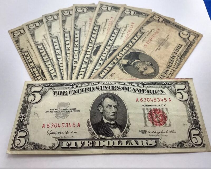 Currency Collection Of Old US Money $5 Dollar Bill $2 Dollar Bill and $1Bill