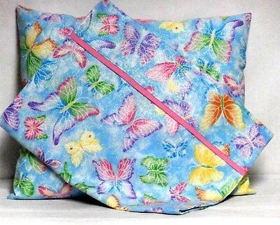 Butterflies Toddler Pillow and Pillowcase on Blue Cotton #BF