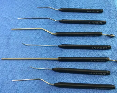 Set of 7 diff Laserscope Microstat Surgical Laser Handpieces - Please see pix kp