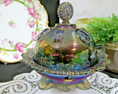 Vintage IMPERIAL GLASS footed carnival depression glass covered butter dish