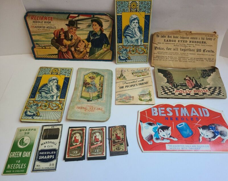 12 Vintage Lithograph Cases & Sewing Needles Sharps CROWN DIX & RANDS POLLY PRIM