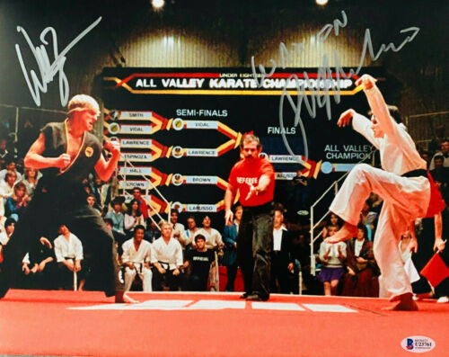 William Zabka Ralph Macchio Signed 11x14 Karate Kid Photo Beckett BAS Witnessed