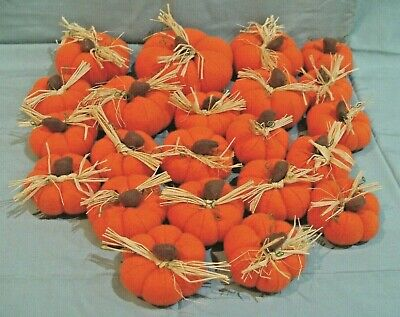 22 PUMPKINS ORANGE FABRIC FALL THANKSGIVING HALLOWEEN PUMPKIN TABLE ORNAMENTS