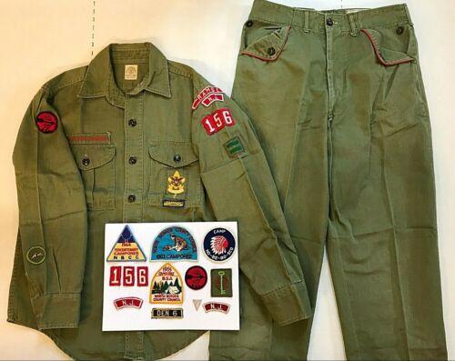 Vintage BOY SCOUTS Uniform USA Shirt Pants Belt heavyweight 1960s + 13 BADGES NJ