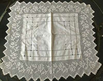 VINTAGE ANTIQUE Square Cream Handmade Crochet Edge Tablecloth 100x100cm