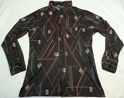 1970s Men's Shirt Styles – Vintage 70s Shirts for Guys Vtg 1970s CAREER CLUB Disco Polyester Men's Geometric Graphic Shirt sz L  $19.99 AT vintagedancer.com