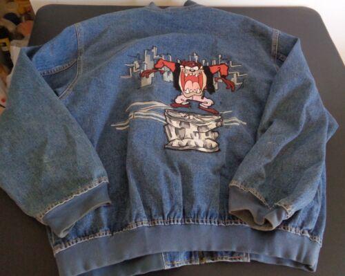 Tasmanian TAZ Devil LOONEY TUNES Vintage 1995 Embroidered L Jacket Warner Bros
