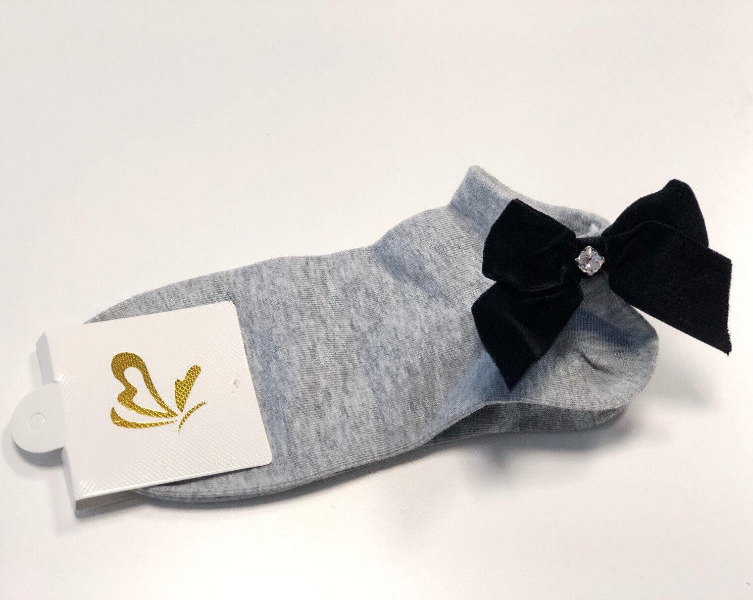 Socken mit Schleife - Süße Schleifensocken - Grau - Einheitsgröße - NEU