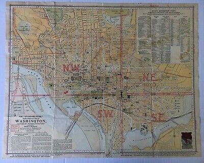 1910 Vintage Foster & Reynolds Reference Map of Washington DC streets landmarks