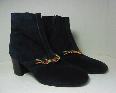 Authentic Gucci Vintage Ladies Navy Blue Suede Ankle Boots 37 1/2 or 6 1/2 US
