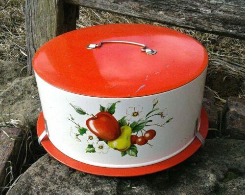 Vintage Decoware Metal Cake Carrier Saver Apple Pears Cherries 1940s