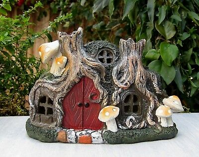 Miniature FAIRY GARDEN House ~ Hobbit Pixie Tree Stump House Cottage w LED Light