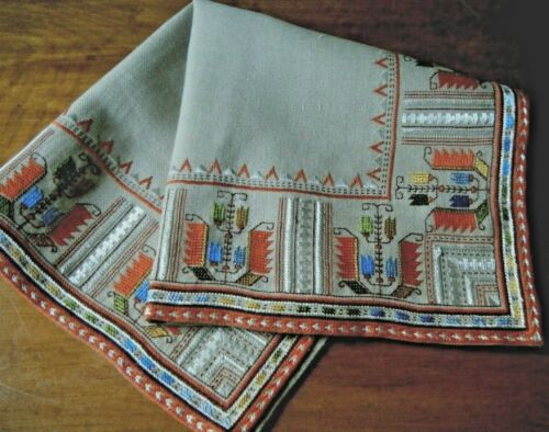 Vtg European tapestry tea topper H emb/red needlepoint deco floral design