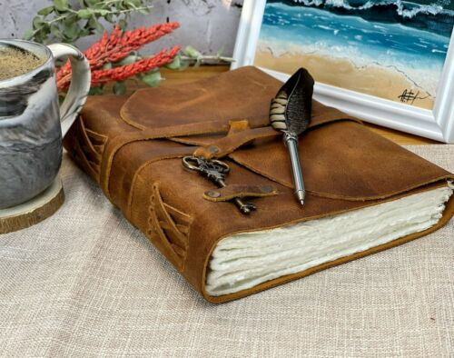 Personalized Leather Journal Handmade Deckle Edge Paper Leather Bound Notebook