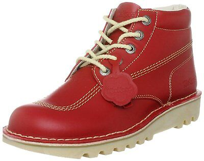 Kickers Kick Hi Boots Shoes Lace Up Leather Red Sizes: Eu: 40 - 46