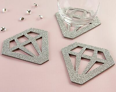 Wedding Favor Coasters (Silver Diamond Coasters Set Wedding Engagement Shower Party Favor Gift)