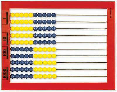 Desktop Abacus 100 Beads Color Coded Red Frame Math Count Add Multiply Subtract
