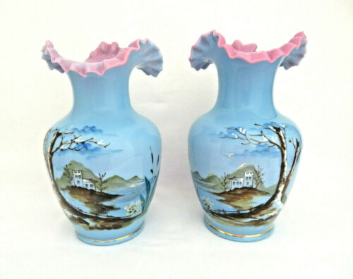 Pair of Hand Painted Bohemia Czech Overlay Blue & Pink Opaline Glass Vases