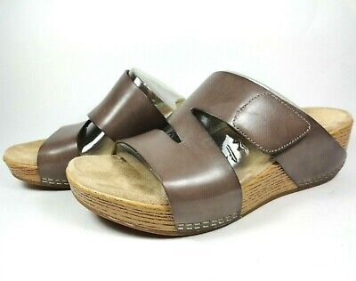 Dansko Lacee Taupe Brown Burnished Calf Leather Clog Wedge Sandal Sz 38 EU/ 8 US Brown Leather Wedge Sandal