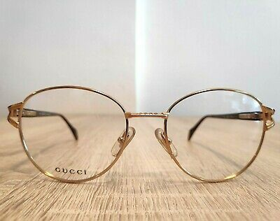 Vintage Gucci Glasses Round GG 2387 Men Women Unisex Eyeglasses Gold Authentic