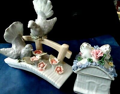 Vintage Porcelain Two Doves Figurine with Flowers Pigeon Sculpture & Trinket Box