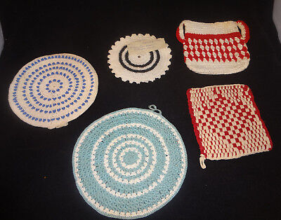 "VTG Pot Holder Hot Pads Mixed Crocheted Lot Of 5  5.5""-7.5"""