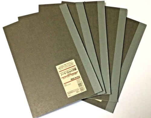 MUJI Notebook A5 5mm grid 30sheets  Pack of 5books Dark gray