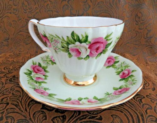 Colclough ENGLAND Bone China Cup & Saucer ~ Pink Roses
