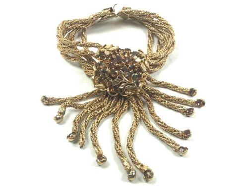 Gold Tone 6-Strand Draped Costume Bracelet w/Cognac Rhinestone Cluster Medallion