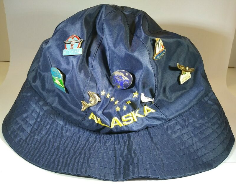 Alaska Bucket Style Hat with Enameled Metal Pins Traveler Souvenir lot