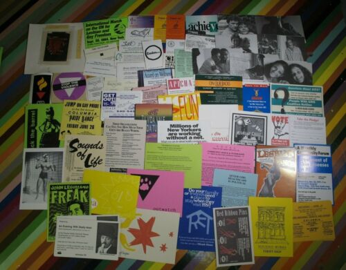 Vtg 1990s gay lesbian interest Flyer or sticker - AIDS Benefits Events protest +
