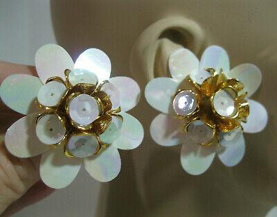 Vtg New Gold & White Large Flower Button Stud Chunky Sequin Pierced Earrings 80s White Gold Button Earrings