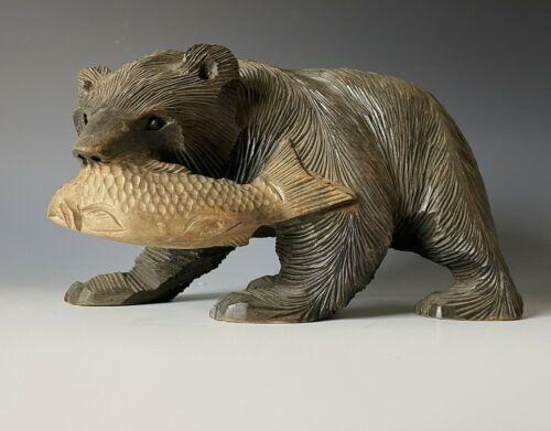 Japanese Ainu Hand Carved Wood Craft Bear Handmade sculpture 9.8inch w/sign