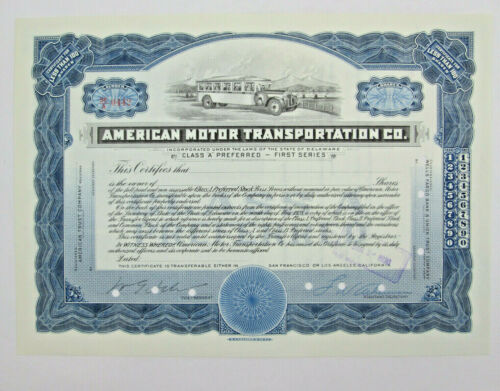 1930 American Motor Transportation Stock Certificate - Co Purchased by Greyhound