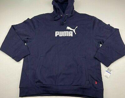 Puma Men's Classic Logo Hoodie Fleece Pullover Sweatshirt Navy Blue Size XL NWT Blue Classic Logo Hoody Sweatshirt