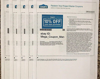 Five 5x Lowes 10% Off Coupon - Expires 02-28-18 - physically delivery via USPS