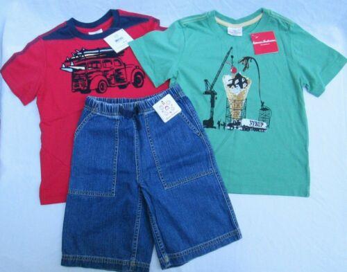 ❤ HANNA ANDERSSON boys LOT shirts denim shorts NEW red car 120 NWT 6 7