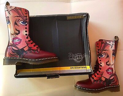 DOC DR MARTENS MANGA ANIME GIRL FACE BOOTS RARE NEW VINTAGE MADE IN ENGLAND 5UK - Girl In Red Boots