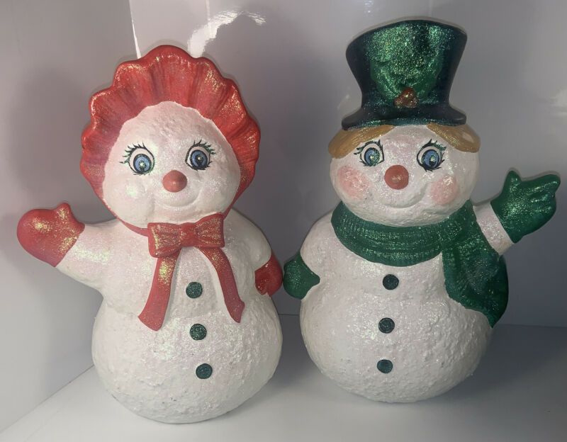 "Vintage 1991 Holland Mold Ceramic Christmas Snowman Couple 11"" Sparkly- Adorable"